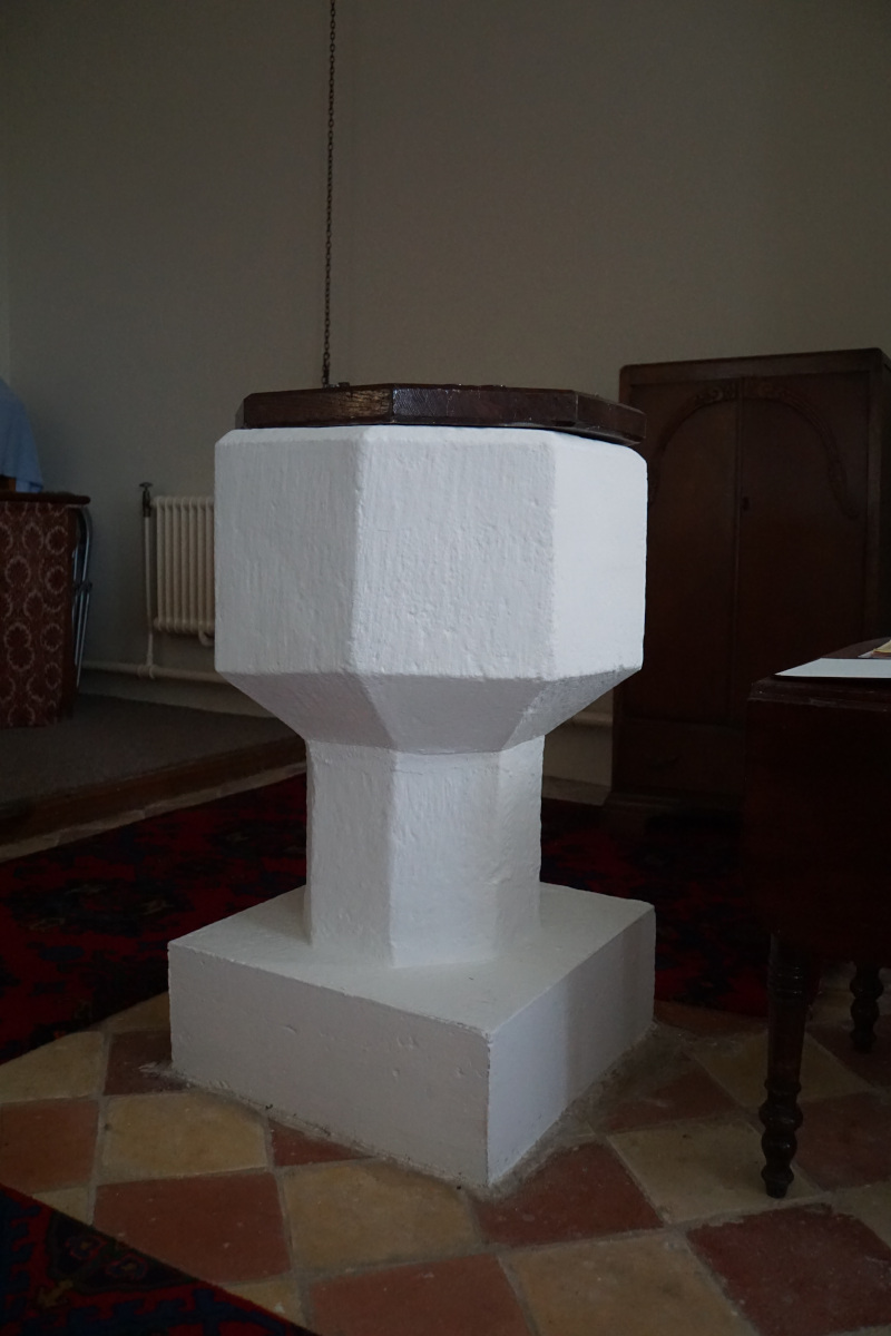 The 16th century font at St Michael's Church
