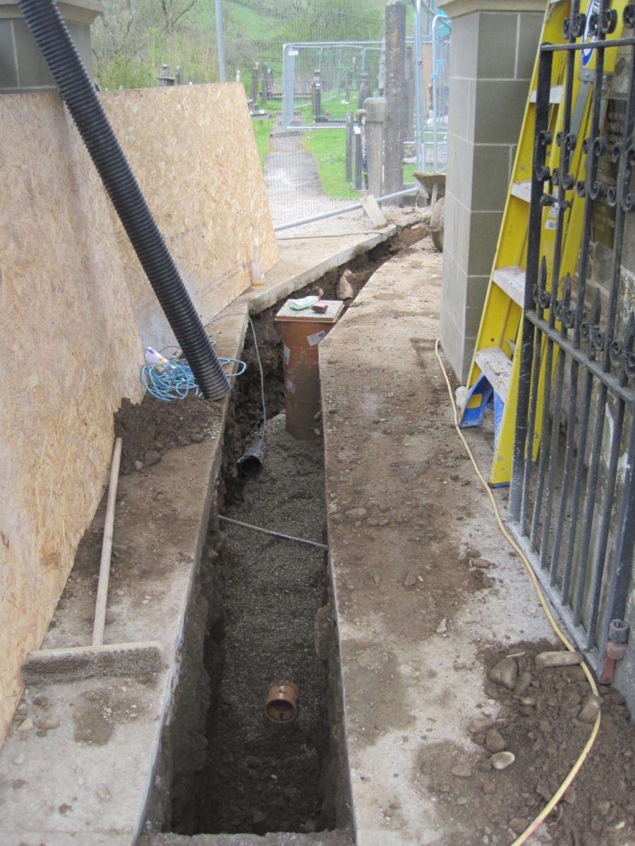 The trench running from the main road to the church.