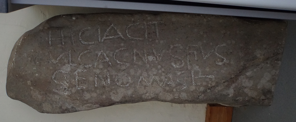The Roman Stone from the front showing the inscription - landscape view.